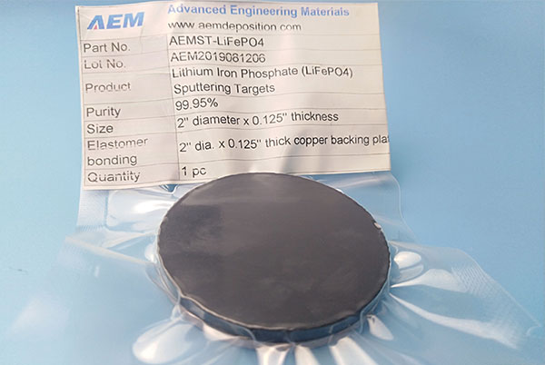 Lithium Iron Phosphate Sputtering Targets (LiFePO4)